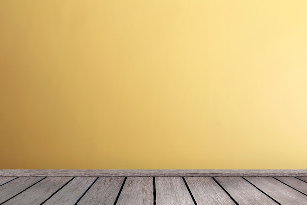 Living room in yellow tones wall interior parquet wood floor with copy space Premium Photo