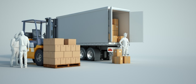 倉庫にトラックを積む Premium写真
