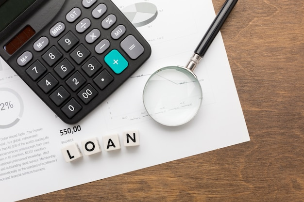 Loan and taxes concept top view Free Photo