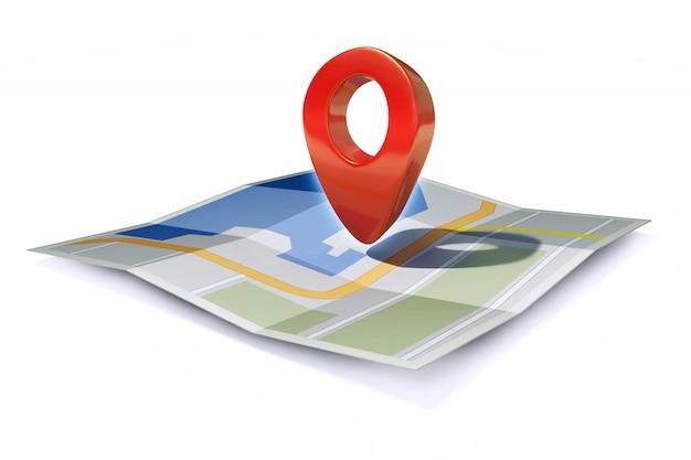 Значок местоположения или указатель булавки на карте Premium Фотографии