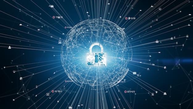 Зафиксируйте безопасность кибер значка, защиту сети цифровых данных, будущую концепцию предпосылки сети технологии. Premium Фотографии