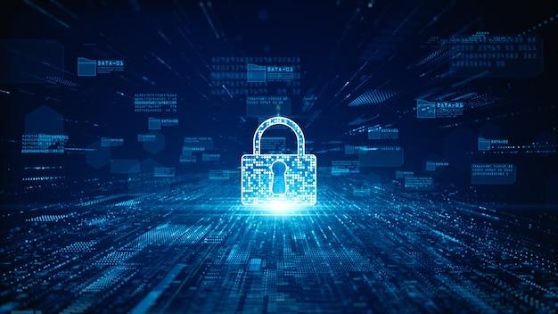 Значок замка для кибербезопасности цифровых данных Premium Фотографии