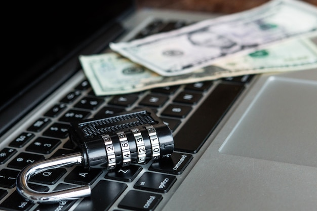 Locker and dollars on a laptop. security online concept Premium Photo