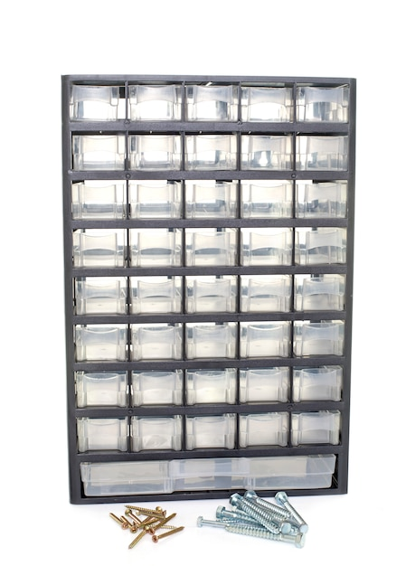 Locker for screws and bolts Premium Photo