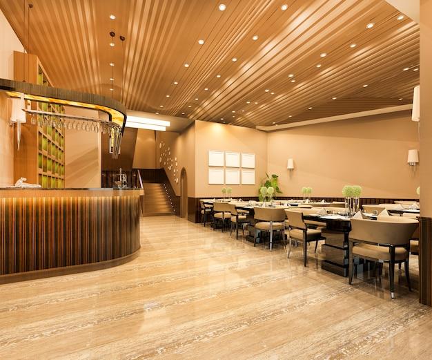 로프트 및 고급 카페 라운지 레스토랑 프리미엄 사진