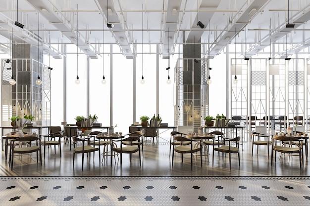 로프트 및 고급 호텔 리셉션 및 카페 라운지 레스토랑 프리미엄 사진