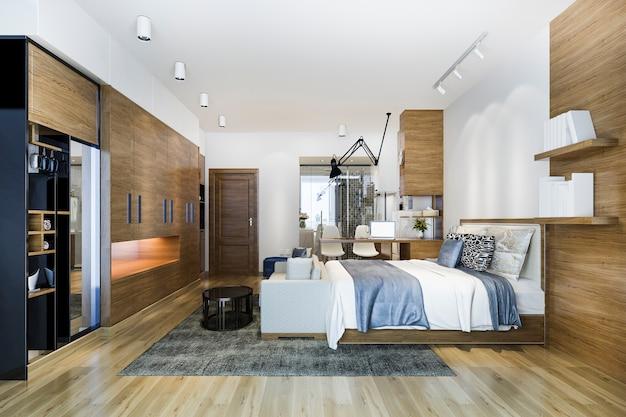 作業テーブルとワードローブのあるロフトの豪華なベッドルーム Premium写真