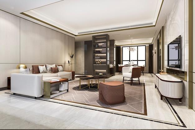 ダイニングテーブルの近くに本棚のあるロフトの豪華なリビングルーム Premium写真