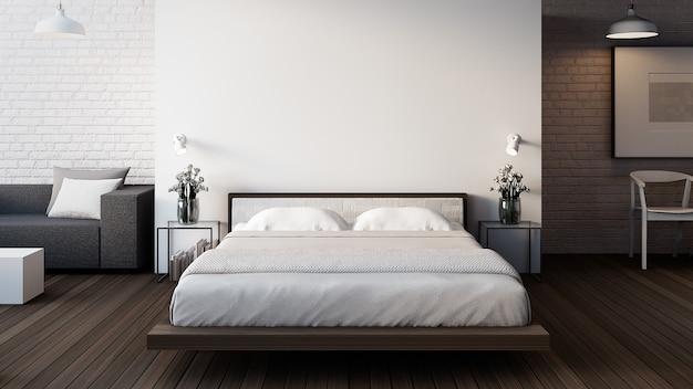 The loft & modern bedroom Premium Photo