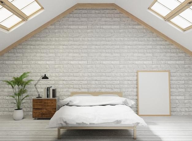 Спальня в стиле лофта с белой кирпичной стеной, деревянный пол, дерево, рама для макета Premium Фотографии