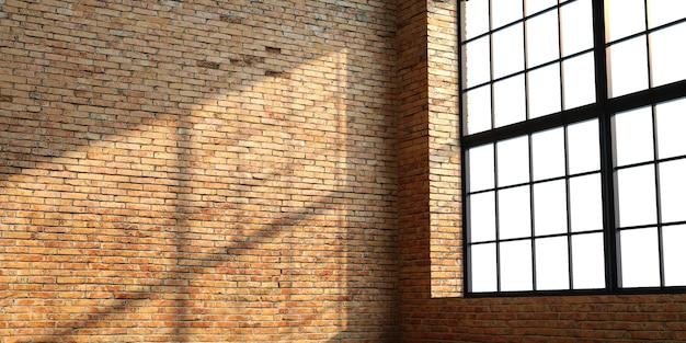 창문이있는 로프트 스타일의 벽돌 인테리어 프리미엄 사진