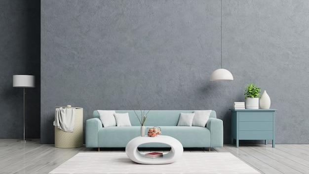 Лофт в стиле дом с диваном и аксессуарами в комнате. Premium Фотографии