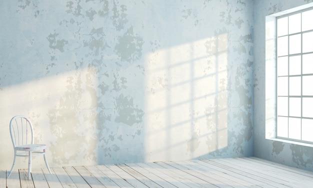 흰색 창문이있는 로프트 스타일의 내벽 프리미엄 사진