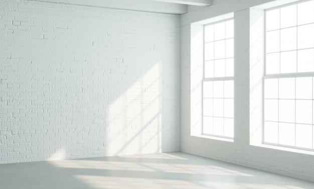 흰색 창문이있는 로프트 스타일 인테리어 프리미엄 사진