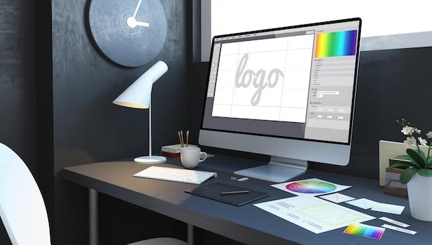 Logo design workplace interior. 3d rendering Premium Photo