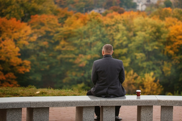 Lone man sitting on the stone bench and looking at nature. back view. autumn theme. Premium Photo
