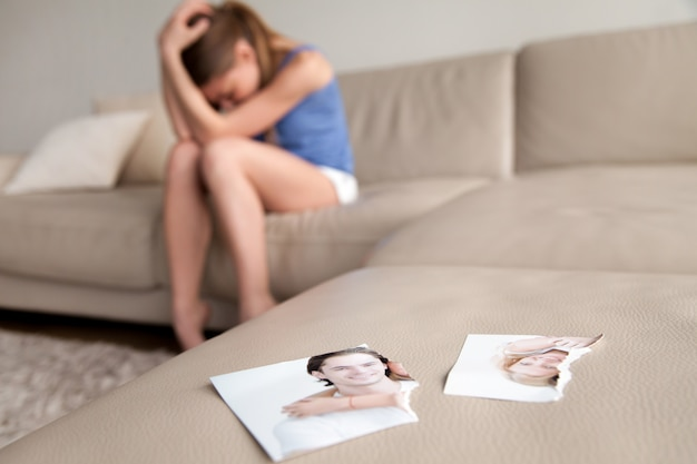 Lonely wife suffering after breakup at home Free Photo