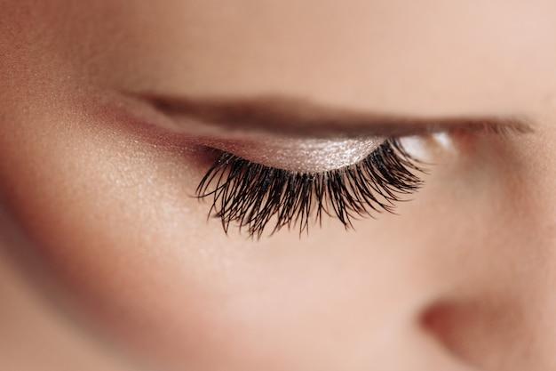 Long black eyelashes. closeup of beautiful woman eyebrow and big eye with fake lashes. beauty cosmetics. Premium Photo