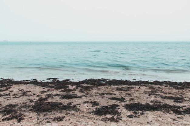 Снимок моря с длинной выдержкой на пляже сэндсфут, уэймут, великобритания, в туманный день Бесплатные Фотографии