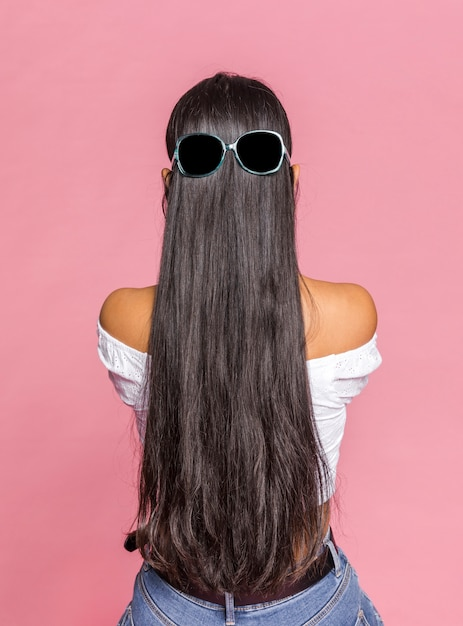 Long hair with sunglasses from behind Free Photo