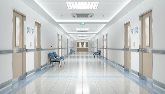 Long hospital corridor with empty seats Premium Photo