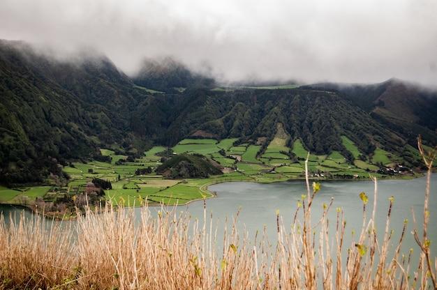 Colpo a lungo raggio di un campo di erba vicino alle montagne boscose in nebbia vicino al mare Foto Gratuite