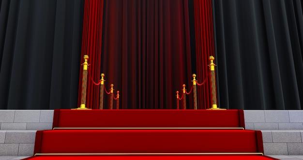 入り口のロープバリアの間の長いレッドカーペット。レッドカーペットで成功する方法。栄光への道。階段が上がる Premium写真