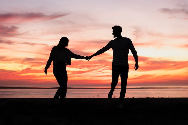 Long shot of couple holding hands at sundown Premium Photo