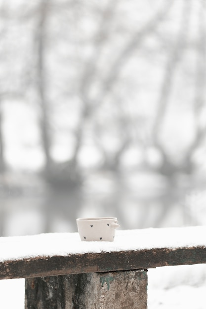 Long shot cup of tea in the winter Free Photo