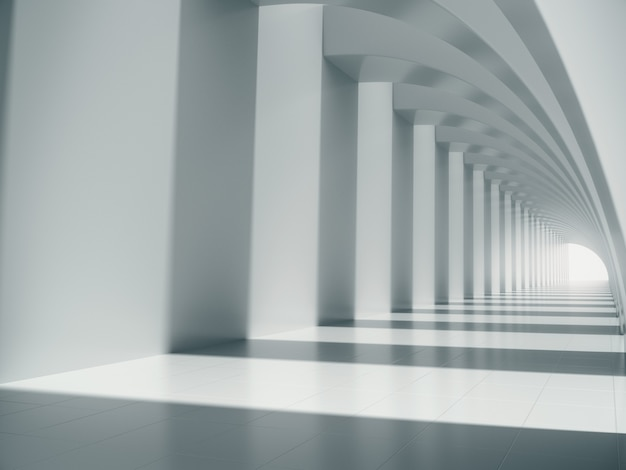 Long white corridor space. Premium Photo