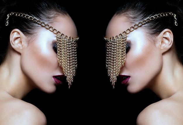Высокая мода look.glamor крупным планом портрет красивой сексуальной кавказской модели молодой женщины с красочными губами, ярким макияжем, с идеально чистой кожей Бесплатные Фотографии