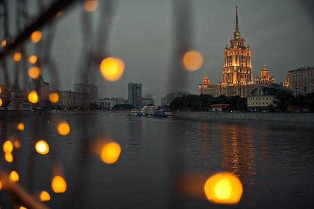 Посмотрите на лампы в блестящей москве-сити Бесплатные Фотографии
