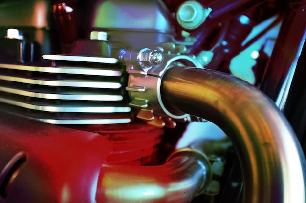 Lose up of motorcycle engine design details Premium Photo