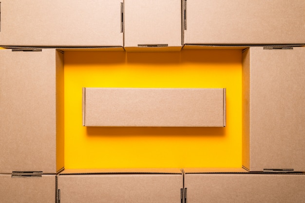 Lot of brown cardboard boxes, Premium Photo
