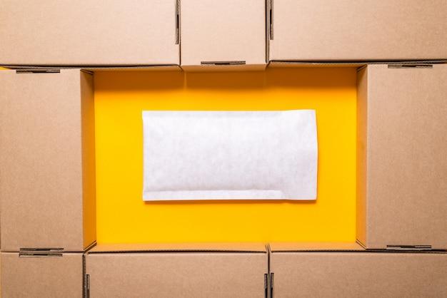 Lot of brown cardboard boxes, Premium Photo