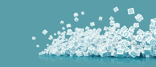 A lot of falling blocks with pictures of icons of social networking 3d illustration Premium Photo