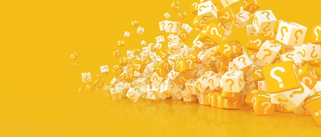 A lot of falling cubes with question marks. 3d illustration Premium Photo