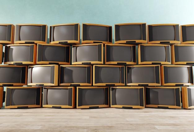 たくさんのビンテージテレビ受信機、レトロなテレビの壁、3d Premium写真