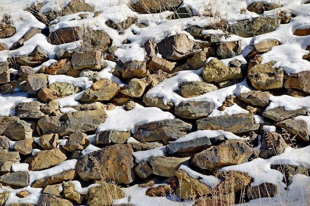 Molte rocce di diverse dimensioni ricoperte di neve Foto Gratuite