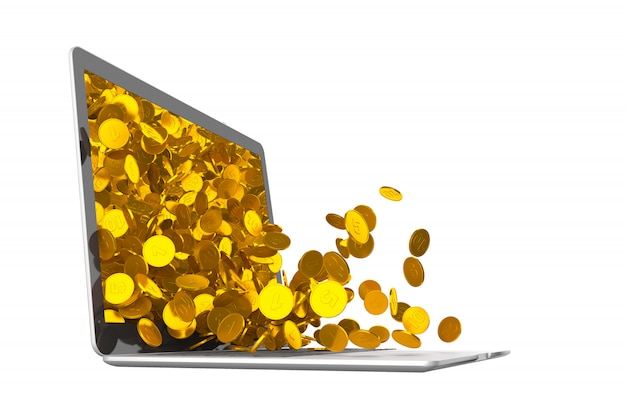 Lots of coins spilling out of laptop. 3d illustration Premium Photo