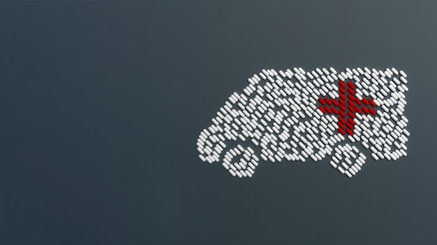 Lots of crumbled tablets in the form of an ambulance on a colored table. 3d illustration Premium Photo