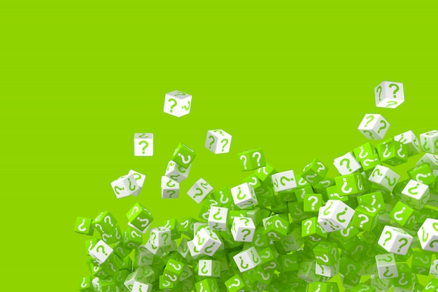 Lots of falling green and white dice with question marks on the sides. 3d illustration Premium Photo