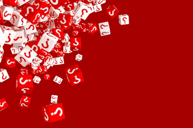 Lots of falling red and white dice with question marks on the sides Premium Photo