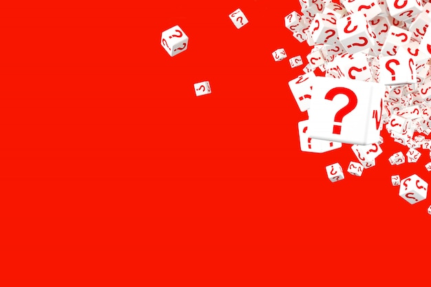 Lots of falling red and white dice with question marks on the sides. Premium Photo