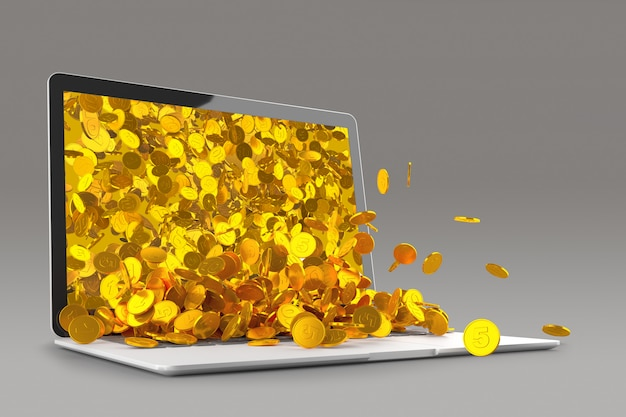 Lots of gold coins spilling out of the laptop monitor 3d rendering Premium Photo