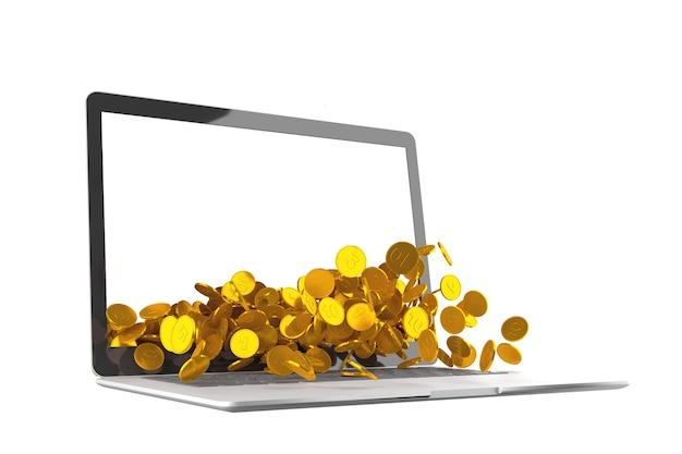 白い背景の上のラップトップからこぼれるコインがたくさん Premium写真