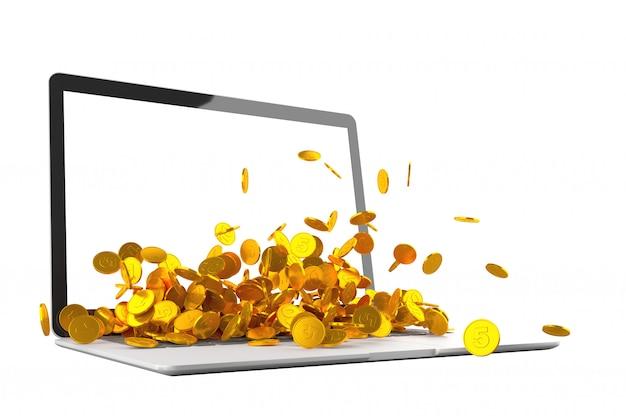 Много золотых монет выплескивается из ноутбука монитор 3d иллюстрации Premium Фотографии