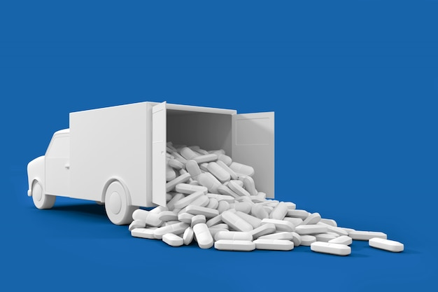 Lots of pills spilling out of the truck. the concept art on the theme of drug delivery Premium Photo