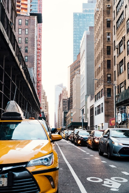 Lots of traffic on road in new york Free Photo