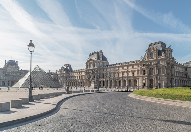 The louvre in paris, the largest museum in the world Premium Photo